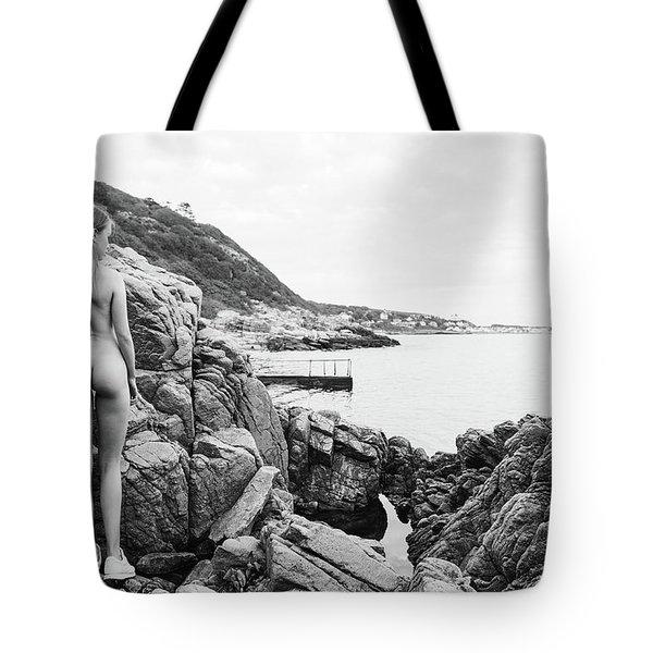 Nude Girl On Rocks Tote Bag