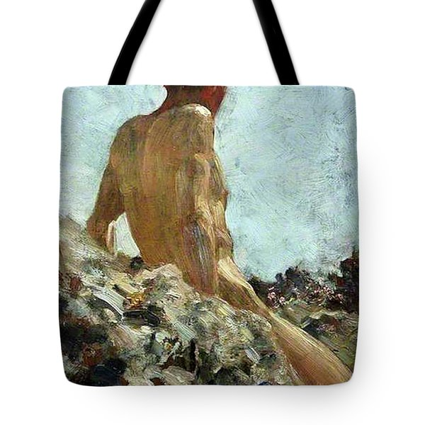 Tote Bag featuring the painting Nude Study by Henry Scott Tuke