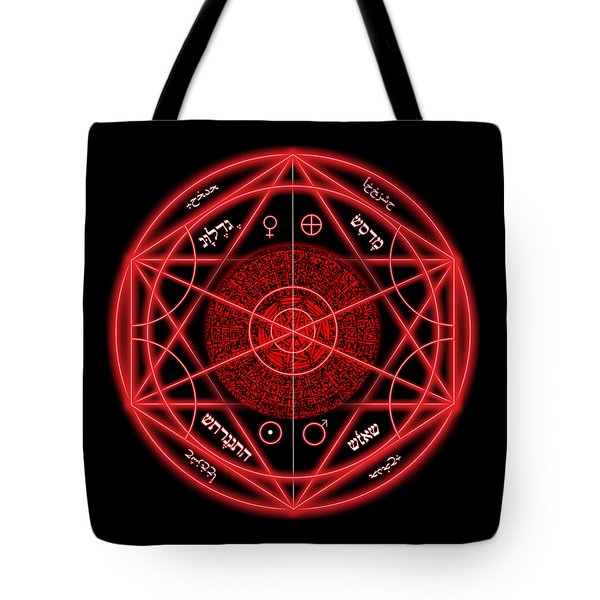 Occult Magick Symbol On Red By Pierre Blanchard Tote Bag by Pierre Blanchard