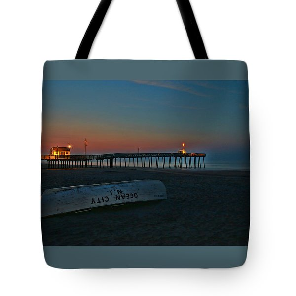 Ocean City  N J Sunrise Tote Bag by Allen Beatty