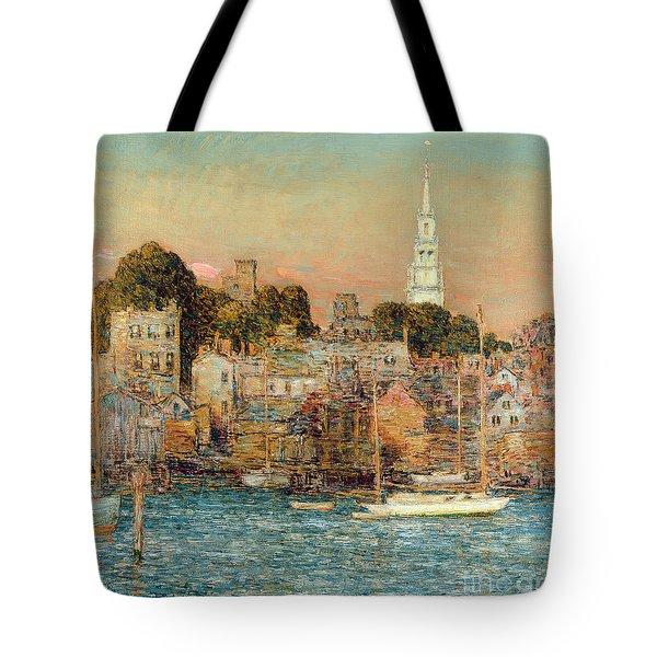 October Sundown Tote Bag by Childe Hassam