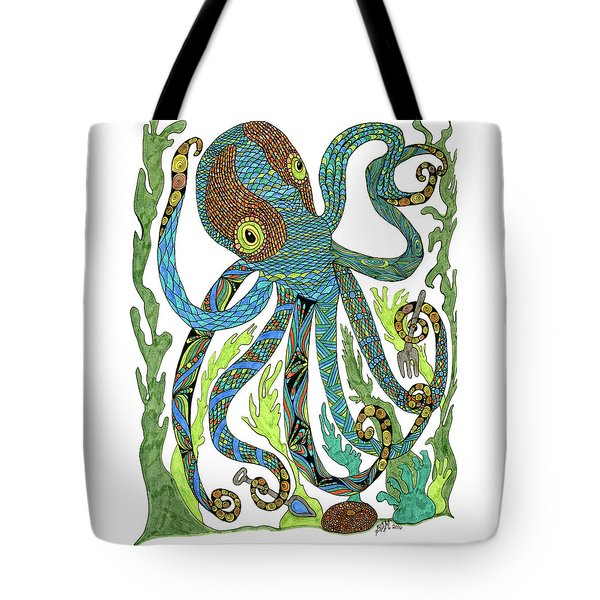 Tote Bag featuring the drawing Octopus' Garden by Barbara McConoughey