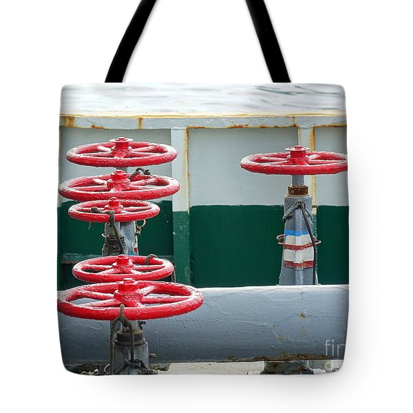 Tote Bag featuring the photograph Oil Pipeline Control Valves by Yali Shi