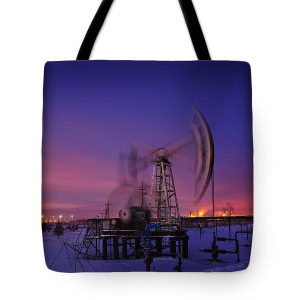 Oil Rig At Night. Tote Bag