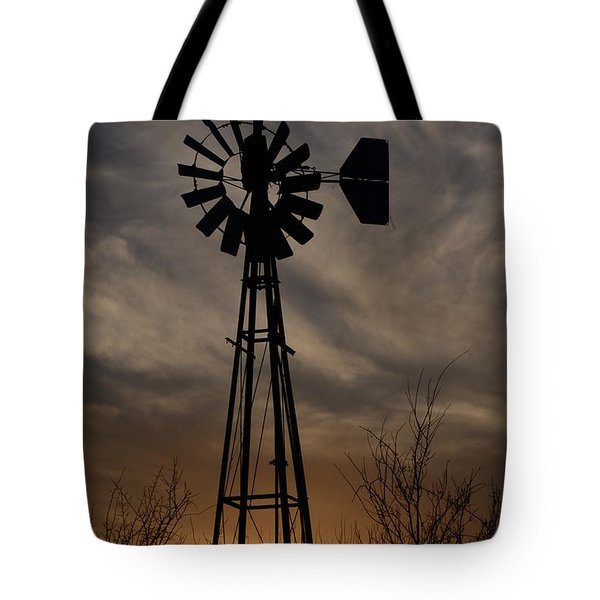 Oklahoma Windmill And Sunset Tote Bag