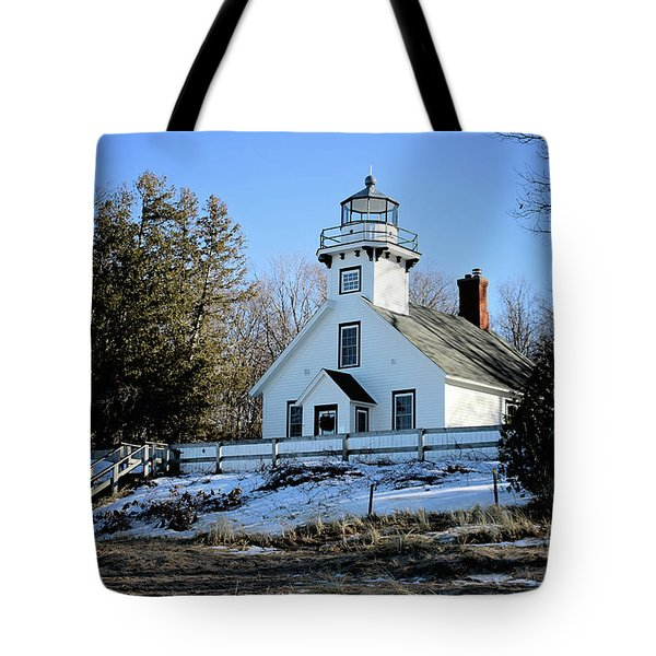Old Mission Lighthouse Tote Bag