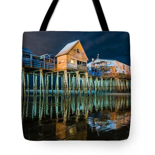 Old Orchard Dock Night Reflection Tote Bag