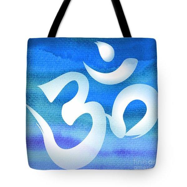 Om Symbol. Blue And White Tote Bag