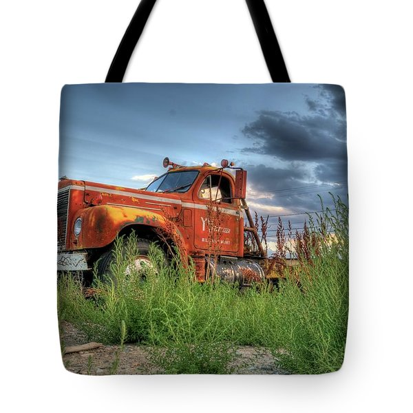 Orange Truck Tote Bag