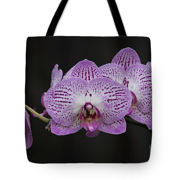 Orchids On Black Tote Bag