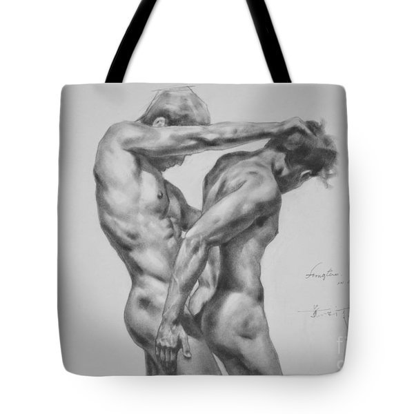 Original Drawing Sketch Charcoal Male Nude Gay Interest Man Art Pencil On Paper -0035 Tote Bag