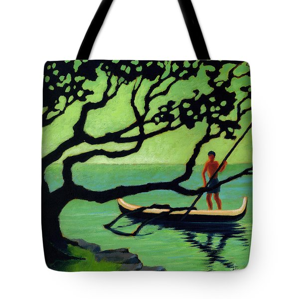 Tote Bag featuring the painting Outrigger by Angela Treat Lyon