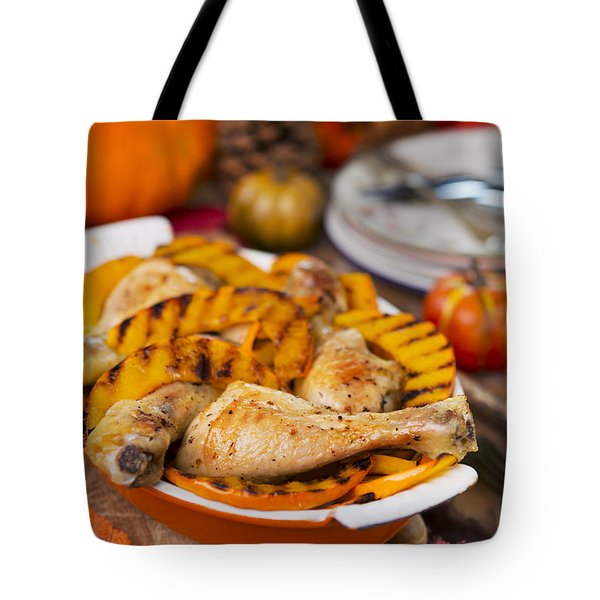 Oven Roasted Chicken With Grilled Pumpkin On A Rustic Table Tote Bag