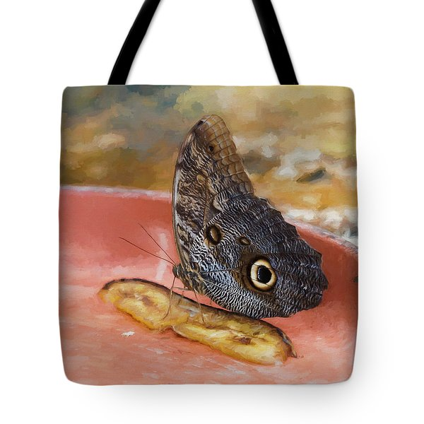 Tote Bag featuring the photograph Owl Butterfly 2 by Paul Gulliver