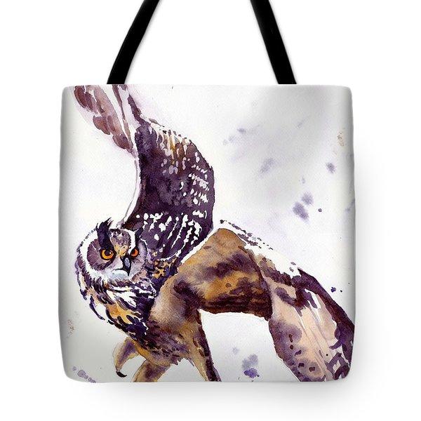 Owl Watercolor Tote Bag