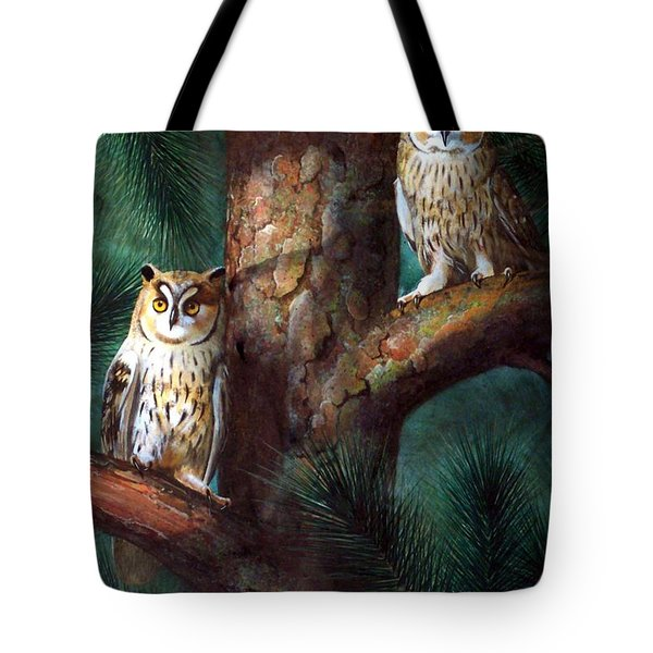 Owls In Moonlight Tote Bag