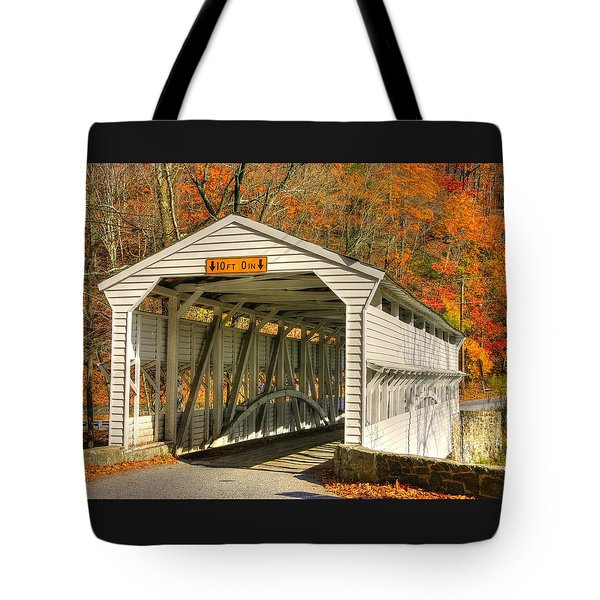 Pa Country Roads - Knox Covered Bridge Over Valley Creek No. 2a - Valley Forge Park Chester County Tote Bag
