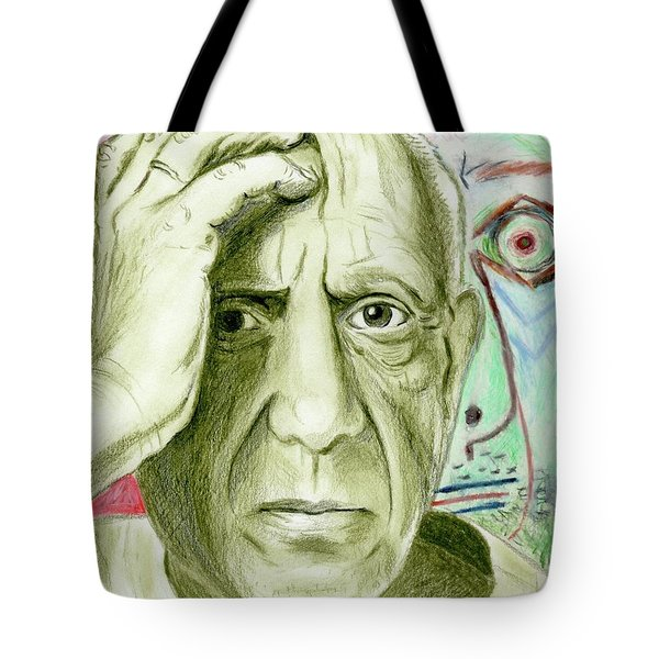 Tote Bag featuring the drawing Pablo Piccaso by Yoshiko Mishina