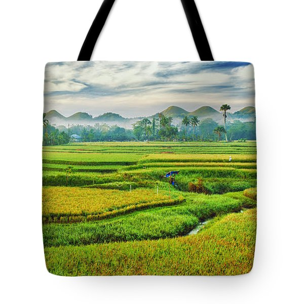 Paddy Rice Panorama Tote Bag by MotHaiBaPhoto Prints