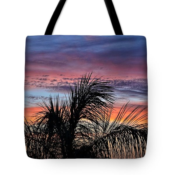 Tote Bag featuring the photograph Palm Tree Sunrise by Nikki McInnes