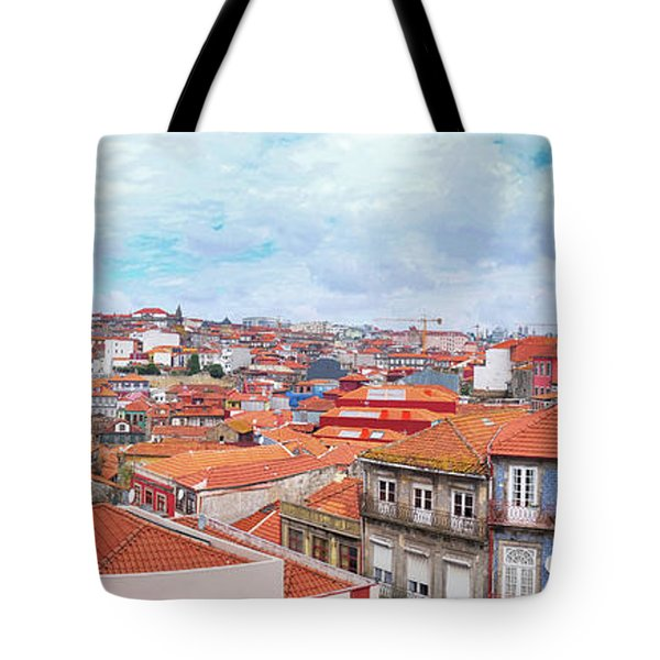 Tote Bag featuring the photograph panorama of old historic part of Porto by Ariadna De Raadt