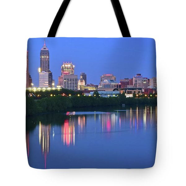 Panoramic Indianapolis Tote Bag by Frozen in Time Fine Art Photography