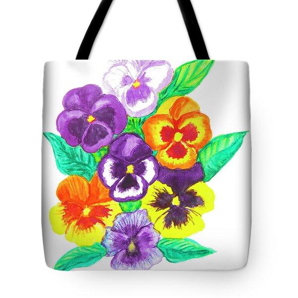 Pansies, Watercolour Painting Tote Bag by Irina Afonskaya