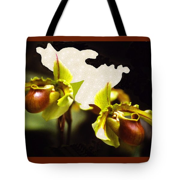 Tote Bag featuring the mixed media Paphiopedilum Orchid by Rosalie Scanlon