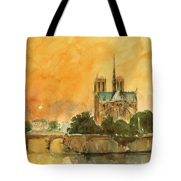 Paris Notre Dame Tote Bag by Juan  Bosco