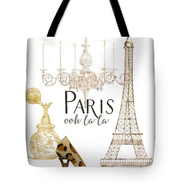 Paris - Ooh La La Fashion Eiffel Tower Chandelier Perfume Bottle Tote Bag