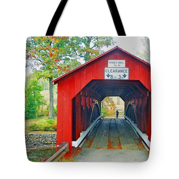 Parr's Mill Covered Bridge, Columbia County, Pennsylvania Tote Bag