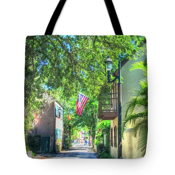 Patriotic Street Tote Bag by Debbi Granruth