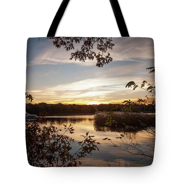 Pawcatuck River Sunrise Tote Bag
