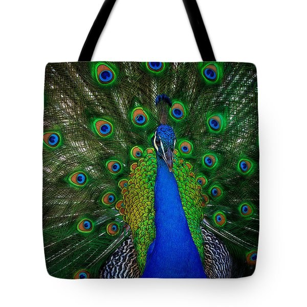 Tote Bag featuring the photograph Peacock by Harry Spitz