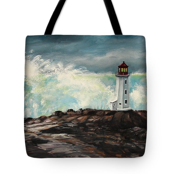 Peggy's Cove Lighthouse Hurricane Tote Bag