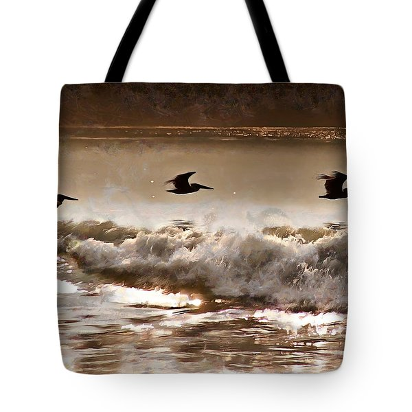 Tote Bag featuring the photograph Pelican Patrol by Jim Proctor