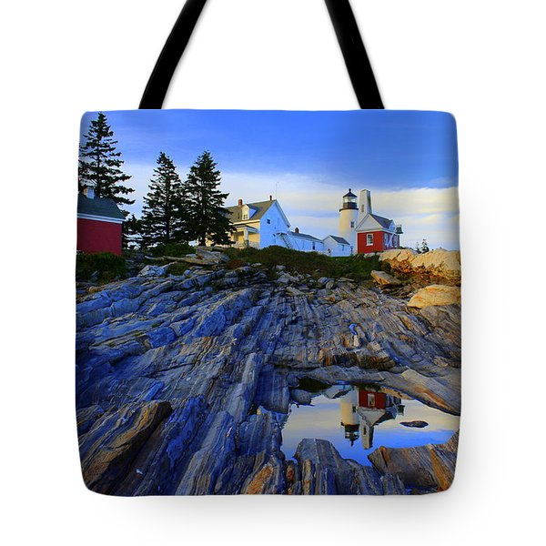 Pemaquid Point Light Reflections Tote Bag