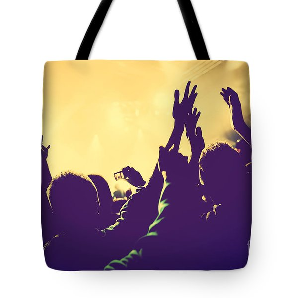 People With Hands Up In Night Club Tote Bag