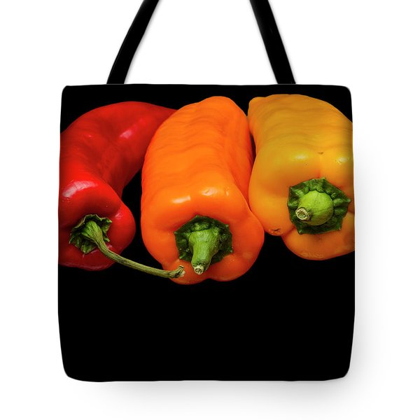 Tote Bag featuring the photograph Peppers Red Yellow Orange by David French
