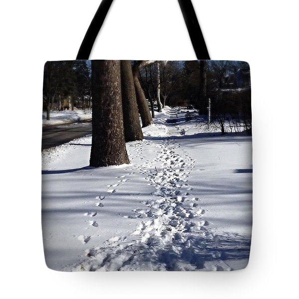 Pet Prints In The Snow - Color Tote Bag