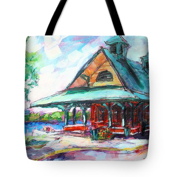 Tote Bag featuring the painting Pewaukee Depot by Les Leffingwell