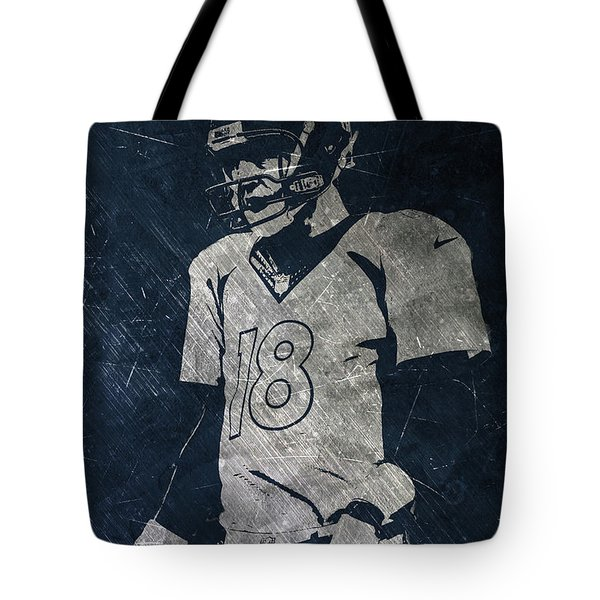 Peyton Manning Broncos Tote Bag by Joe Hamilton