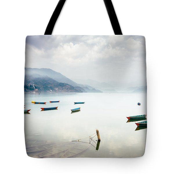 Phewa Lake In Pokhara, Nepal Tote Bag
