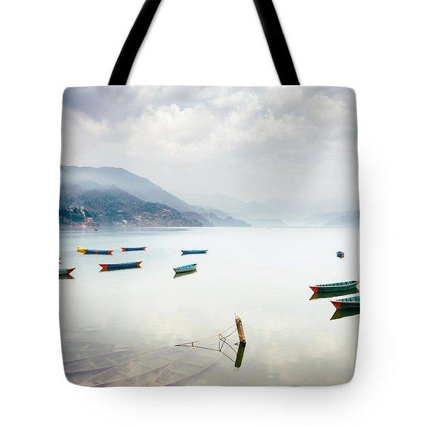 Phewa Lake In Pokhara, Nepal Tote Bag