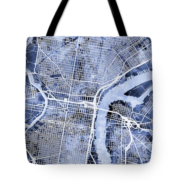 Philadelphia Pennsylvania City Street Map Tote Bag
