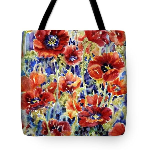 Picket Fence Poppies Tote Bag