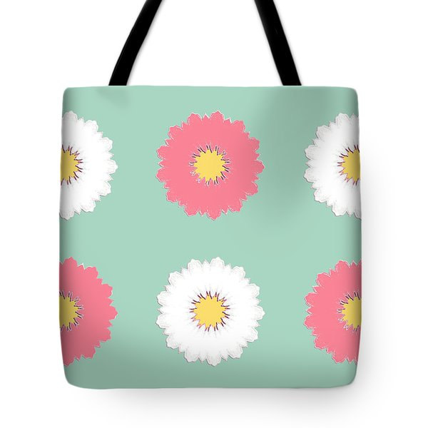 Tote Bag featuring the digital art Pink And White by Elizabeth Lock