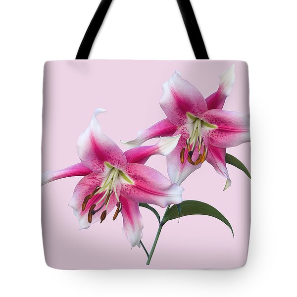 Pink And White Ot Lilies Tote Bag by Jane McIlroy