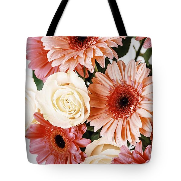 Pink Gerbera Daisy Flowers And White Roses Bouquet Tote Bag by Radu Bercan