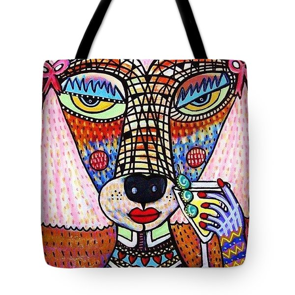 Pink Poodle Drinking A Martini Tote Bag